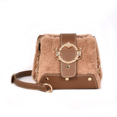 MONDAY Fur Handbag Fashion Women's Bags Hasp Ladies Shoulder Bag Small Crossbody Bucket Bag brown 17*15*11cm
