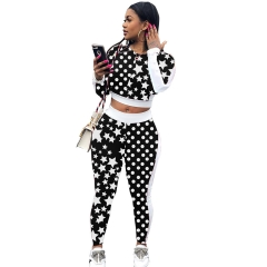 2018 Winter 2 Two Piece Sets Women Solid Star Print Knitted Sweatshirt Elastic Waist Tracksuit Black S