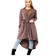 2018 Hot Sale 1 Pc Cotton Round Neck Long Sleeve Placket Loose  Irregular Dovetail T-shirt Khaki S
