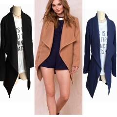 2018 Hot Sale 1 Pc Cotton Women Winter Sexy Lapel Long Sleeves Warm Solid Color Outwear Windbreaker Navy XL