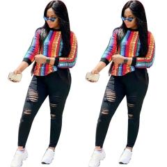 2018 Hot Sale 1 Pc Cotton Colorful Stripe print Sweater Long Sleeve Long Fashion Women's Wear Printed L