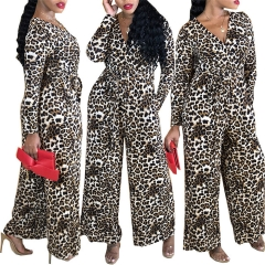 2018 1 Pc New Women's European And American Sexy Large Size V-neck Long-sleeved Leopard Jumpsuit Printed S