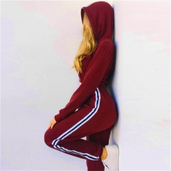 2018 Hot Sale 2 Pcs Cotton Clothing Set Women's Suit Ladies Sexy Leisure Two Piece Tracksuit Hooded Wine Red S