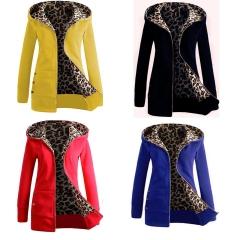 2018 Hot Sale 1 Pc  Hooded Padded Leopard Velvet Sweater Women Jacket Coat Winter Women's Clothing Blue 2XL