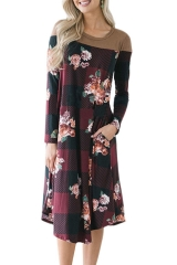 2018 Ins Hot Sale 1 Pc Poly Women's Loose Long Sleeve Printed Splicing Pocket A-line Dress Wine Red S