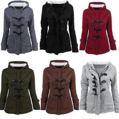 2018 Hot Sale 1 Pc Poly Women Casual Overcoat Hooded Coat Zipper Horn Buckle Outwear Oversized wine red 2xl