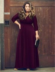 2018 Ins Hot Sale 1 Pc Cotton Women's Deep V Solid Color Extra Large Dress Wide Hem Dress purple l