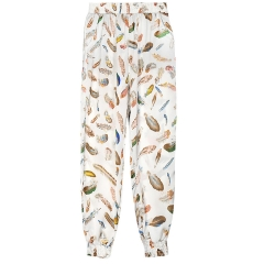 2018 Ins Hot Sale 1 Pc Poly Wide-leg High Waist Print Pants Loose Casual Slim Fit Leisure For Women White Feather XXL