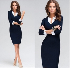 2018 Ins Hot Sale 1 Pc Slim Pencil Skirt Stand Contrast Color Collar V Neck Long Sleeve Sheath Dress dark blue s