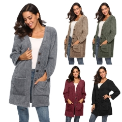 2018 Ins Hot Sale 1 Pc Poly Winter Thick Coat Big Pocket Long Plush Cardigan for Women Wool Coats army green 2xl