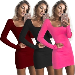 2018 One Pc Poly New Fashion Sexy U-Neck Low-cut Slim Fit Hip Dress Women Long Sleeve Winter Bodycon rose red xl