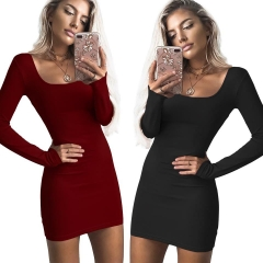 2018 One Pc Poly New Fashion Sexy U-Neck Low-cut Slim Fit Hip Dress Women Long Sleeve Winter Bodycon wine red m