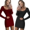 2018 One Pc Poly New Fashion Sexy U-Neck Low-cut Slim Fit Hip Dress Women Long Sleeve Winter Bodycon wine red s