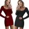 2018 One Pc Poly New Fashion Sexy U-Neck Low-cut Slim Fit Hip Dress Women Long Sleeve Winter Bodycon wine red xl