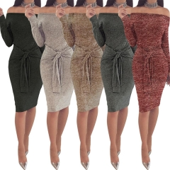 2018 1 Pc Poly Sexy Waist Bandage Bandeau Long Sleeve Dress Casual Splicing Dress 5 Colors 5 Sizes khaki xxl
