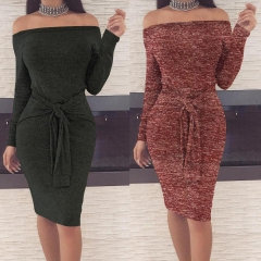 2018 1 Pc Poly Sexy Waist Bandage Bandeau Long Sleeve Dress Casual Splicing Dress 5 Colors 5 Sizes wine red m