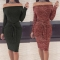 2018 1 Pc Poly Sexy Waist Bandage Bandeau Long Sleeve Dress Casual Splicing Dress 5 Colors 5 Sizes wine red s