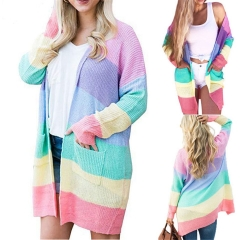 Women Long Cardigan Loose Sweater Knitted Long Sleeve Rainbow Outwear Autumn Winter Casual Long Coat printed l