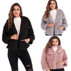 2018 Amazon Hot Sale 1 Pc Poly Women's Lapel Long Sleeve Plush Slim Fit Jacket Casual Fleece Jacket pink xl