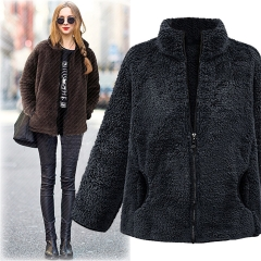 2018 Hot Sale Women Long-sleeved High-collar Temperament Coat Solid Color Loose Plush Fashion Coat gray xl