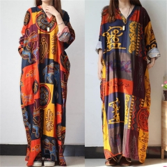 2018 Ins Hot Sale Women's V-neck Long-sleeved Printed Cotton and Linen Dress Long Skirt Plus Size brown l
