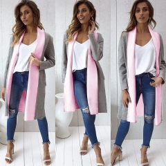 2018 Ins Hot Sale 1 Pc Poly Autumn And Winter New Candy Color Long Thicken Coat Jackets Women's Top gray with pink s