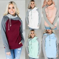 2018 Hot Sale Hooded Zipper Long Sleeve Sweater Warm Jumper   Pullover Fashion Women's Stitch Tops sky blue xl