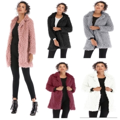 2018 Ins Hot Sale 1 Pc Poly Imitation Lambskin Tops Solid Color Wild Long-sleeved Plush Warm Jacket off-white 2xl