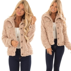 2018 Ins Hot Sale 1 Pc Poly Women Turn Down Collar Fake Fur Jacket Winter Warm Fluffy Outerwear khaki xl