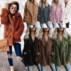 2019 Hot Sale Winter Fashion New Women's Button   Suit Collar Pocket Blouse Woolen Jacket 16 Colors coffee 3xl