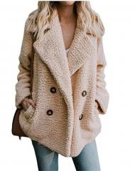 2019 Hot Sale Winter Fashion New Women's Button   Suit Collar Pocket Blouse Woolen Jacket 16 Colors khaki s
