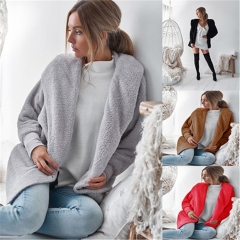 2018 Ins Hot Sale 1 Pc Poly Sexy Plush Hooded Long Sleeve Jacket  Women Warm Loose Coats And Jackets pink s