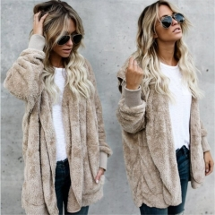 2018 Ins Hot Sale Winter Fur Warm Cotton Coat in the Long Section of Two Sides Wearing Faux Fur Coat khaki s