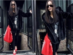 Winter Hooded Large Size Solid Color Fur Faux Fur Women 2018 New Casual Long Sleeve Women Fur Coat black s