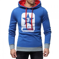 2018 Hot Sale 1 Pc Cotton Fashion Letter Printing Men's Casual   Hooded Sweater Coat European Style blue xxl