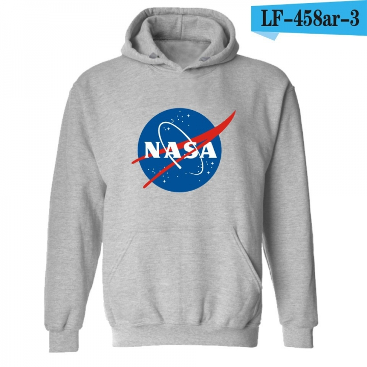 2018 Ins Hot Sale 1 Pc Cotton Nasa Hoodie Unisex Cotton Sweatshirts Long Sleeve Pullovers Jackets gray xxs