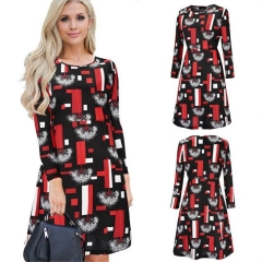 2018 Fashionable Geometric Print in Long Sleeve Dress O Neck Mid-calf Length Casual Loose Vestidos black and red s