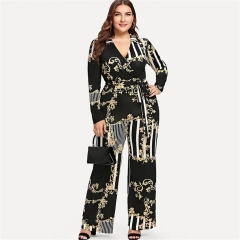 2018 Latest Women's Sexy Print Long Sleeve V Neck Playsuit Bodycon Party Jumpsuit Romper Trousers black s