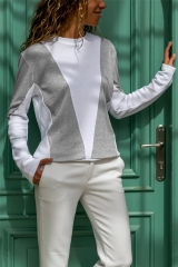 2019 New Arrival 1 Pc Poly Women's Fashion Tops Splicing Round Neck Long-sleeved Tees Thin Coat gray s