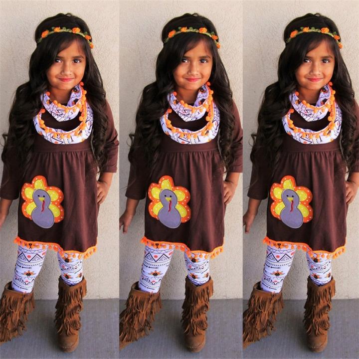 Newest Girls Suits Cute Chick Pattern T-shirt Top Pants Leggings Cotton Outfit Clothes 3 Pcs Set Kakhi 90