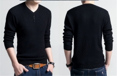 2018 Ins Hot Sale 1 Pc Cotton Men's V Neck Long Sleeve Sweater Knitted Pullover Sweater black m