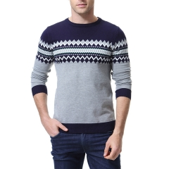 2018 Ins Hot Sale 1 Pc Cotton Men's Casual Sweater O-Neck Slim Fit Knitting Mens Sweaters Pullovers navy m