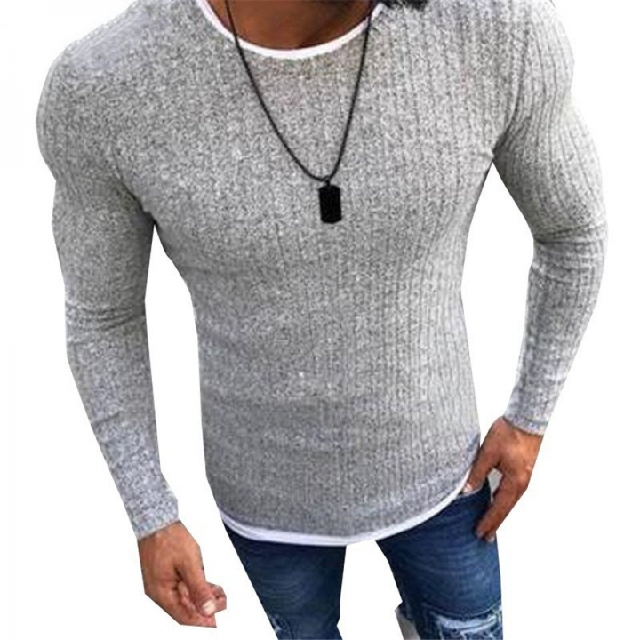 2018 Men's Sexy Skinny Sweater Solid Knitted Pullover Thin Sweaters O-Neck Slim Fit Fake Two Pcs Set gray s