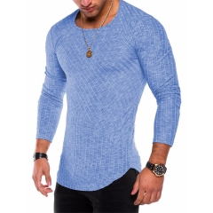 Slim Fit Sweater Men 2019 Spring Autumn Thin O-Neck Knitted Pullover Men Casual Solid Mens Sweaters blue s