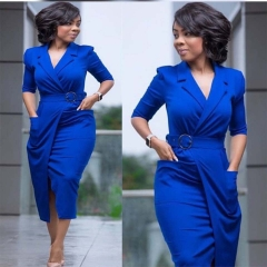 2018 Office Lady Women High Quality Suit Collar Pocket Large Size  (With Belt) Slim Pencil dress blue l