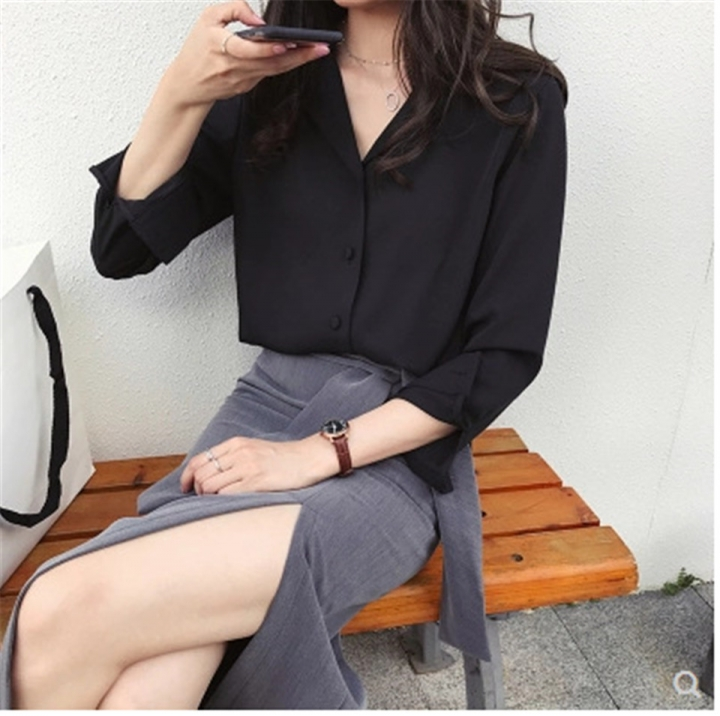 1f1a8c1236c 2018 Women V-Neck Tops Long Sleeve Casual Chiffon Blouse Ladies Work Wear  Solid Color Office Shirts black m