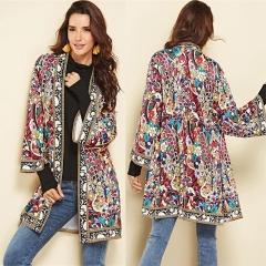 Ethnic Floral Print Jacket 2018 Winter Long Sleeve Side Split Casual Outerwear Ladies Retro Cardigan print s