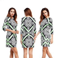 2018 Amazon New Three Quarter Sleeve Round Neck Collection Tight-fitting Print Dress Female print s