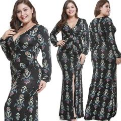 2018 Hot Sale Fashion New Bohemia Large Size Printed Big V Slit Long Dress Female Autumn And Winter black s