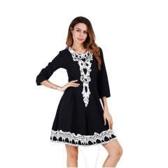 2018 INS Hot Sale Stitching Lace Three Quarter Sleeve Dress Big Swing Skirt Women's Clothing black s